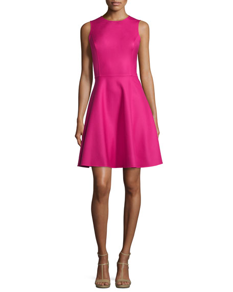 Michael Kors Sleeveless Fit-&-Flare Dress, Geranium