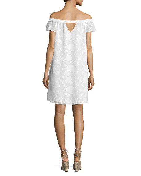 Victoria Off-The-Shoulder Shift Dress, White
