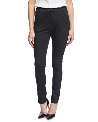 Seamed Zipper-Cuff Slim-Fit Pants, Black