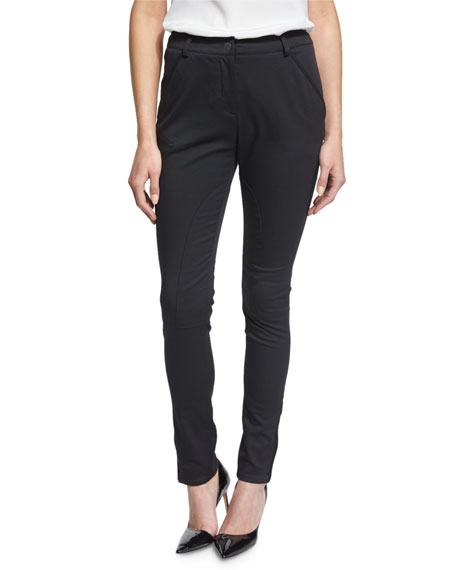 RED Valentino Seamed Zipper-Cuff Slim-Fit Pants, Black