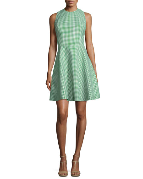 Michael Kors Collection Sleeveless Fit-&-Flare Gingham Dress,