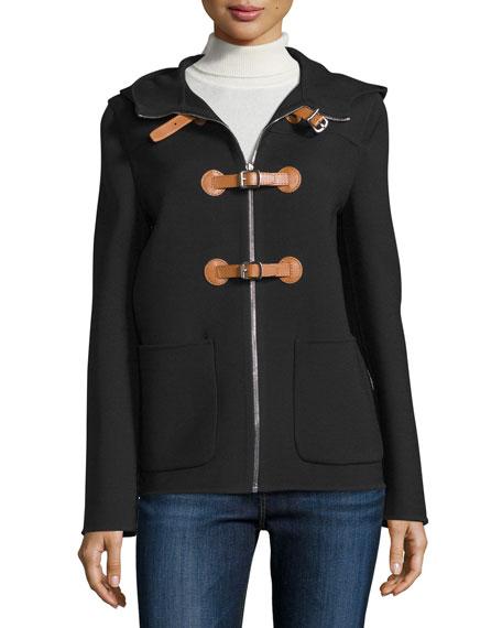 Michael Kors Collection Zip-Front Hooded Jacket, Black