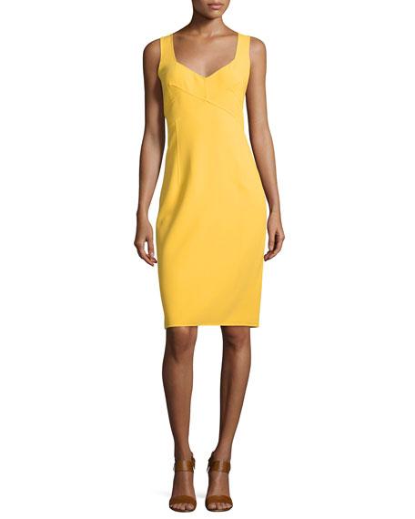Michael Kors Collection Sleeveless V-Neck Sheath Dress, Daffodil