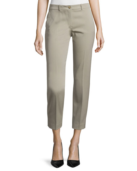Michael Kors Collection Flat-Front Straight-Leg Pants, Sand