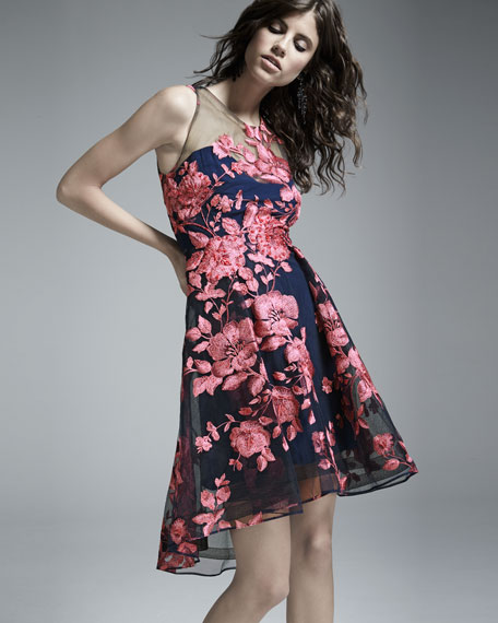 Sleeveless Floral High-Low Cocktail Dress, Navy