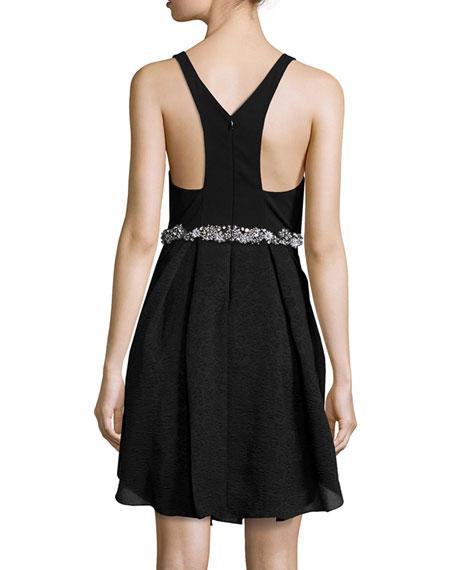 Embellished-Waist Tulip Cocktail Dress, Black