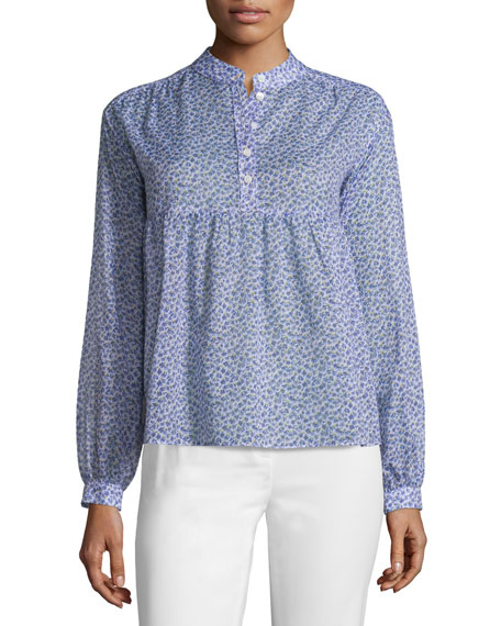 Long-Sleeve Floral-Print Empire Blouse, Wisteria