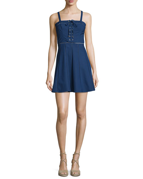 Parker Athena Sleeveless Lace-Up Dress, Stealth