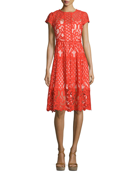 Parker Talulah Cap-Sleeve Lace Dress, Flare