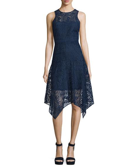 Parker Melissa Handkerchief-Hem Lace Dress, Stealth