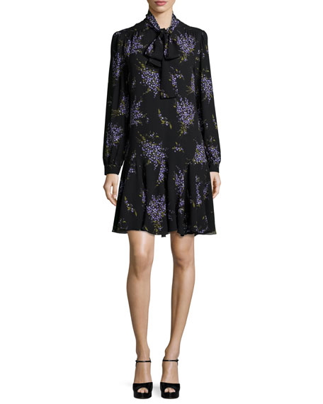 Michael Kors Collection Long-Sleeve Tie-Neck Dress, Black/Wisteria