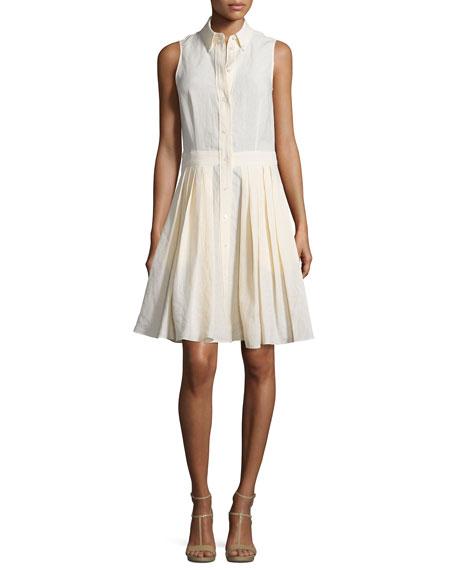 Michael Kors Collection Sleeveless Button-Front Shirtdress, Muslin