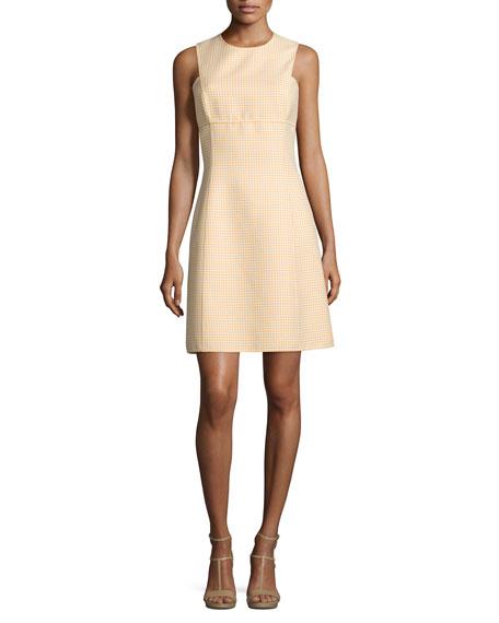Sleeveless Gingham A-Line Dress, Daffodil