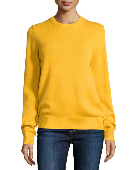 Cashmere-Blend Long-Sleeve Sweater, Daffodil