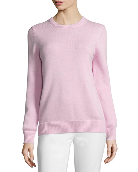 Cotton/Cashmere Long-Sleeve Sweater, Oleander