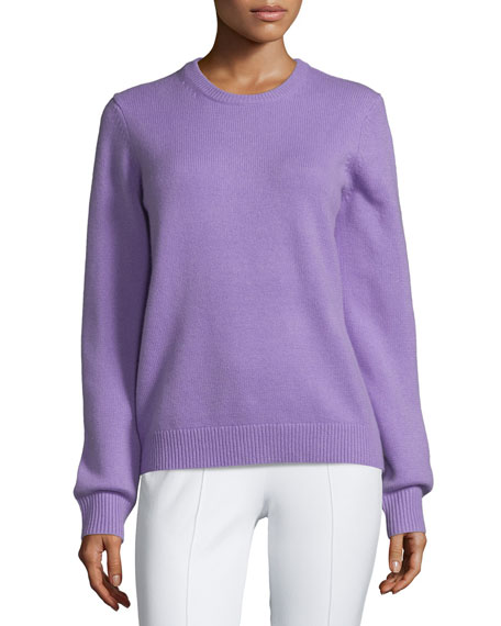 Michael Kors Collection Jewel-Neck Cashmere Sweater, Wisteria Melange
