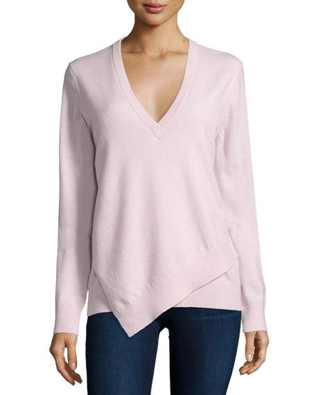 Michael Kors Collection Asymmetric-Hem Cashmere Sweater, Blush Melange