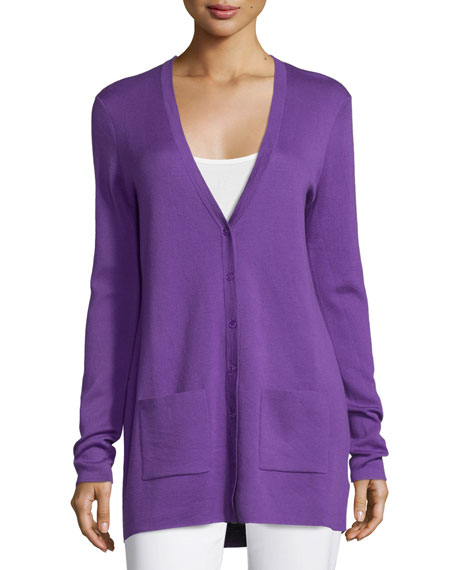 Michael Kors Collection Button-Front Cashmere Cardigan W/Pockets ...