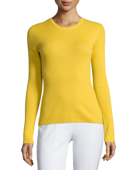 Michael Kors Collection Long-Sleeve Cashmere Top, Daffodil