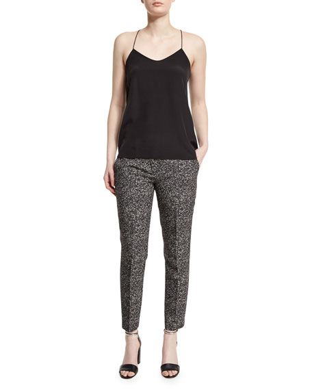Michael Kors Collection Straight-Leg Herringbone Cropped Pants,