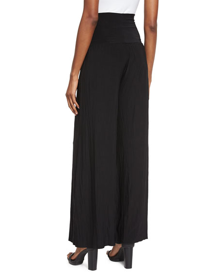 Feel Good High-Waist Wide-Leg Pants, Black Onyx, Petite
