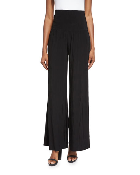 NIC+ZOE Feel Good High-Waist Wide-Leg Pants, Black Onyx,