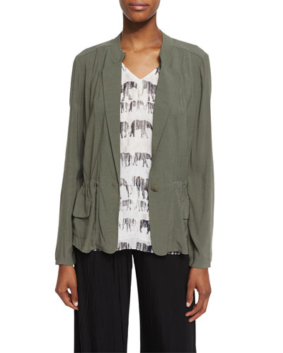 Femme One-Button Utility Jacket, Dusty Olive, Petite