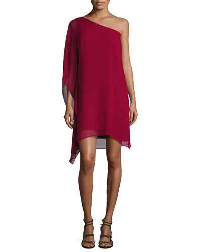 Alana One-Shoulder Chiffon Dress, Deep Cranberry