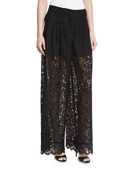 Rachel Zoe Berenice Lace-Yoke Plissé Tunic Dress &