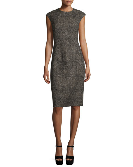 Michael Kors Cap-Sleeve Jewel-Neck Sheath Dress, Hemp/Black