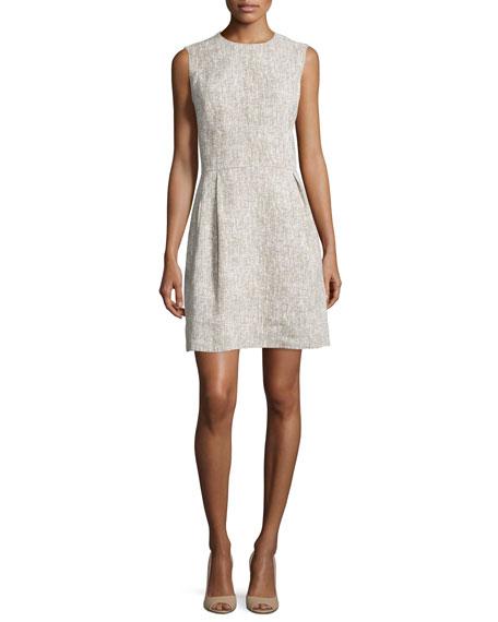 Michael Kors Sleeveless Linen Shift Dress, Hemp/White