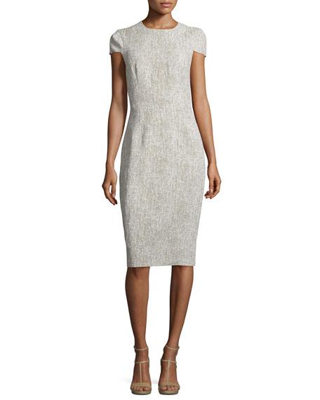 Cap-Sleeve Jewel-Neck Sheath Dress, Hemp/White