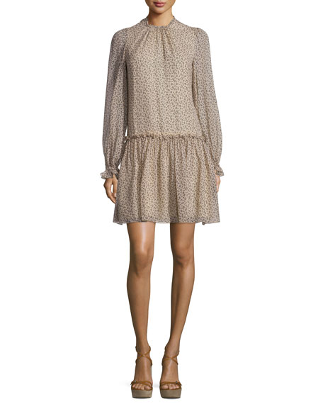 Michael Kors Collection Long-Sleeve Dropped-Waist Dress, Nude/Black