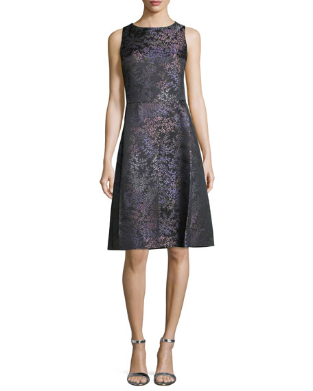 Michael Kors Sleeveless Floral-Print A-Line Dress, Black