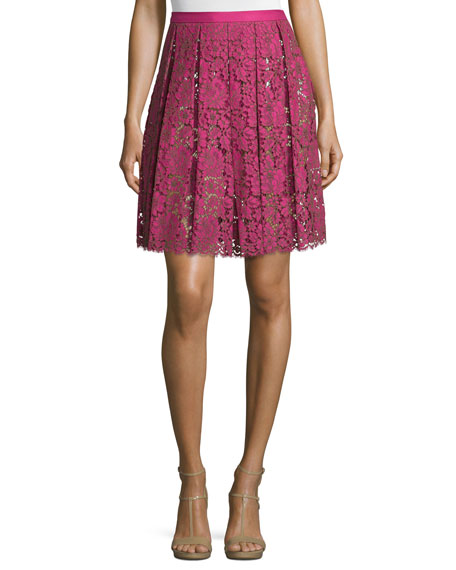 High-Waist Pleated Lace Skirt, Geranium