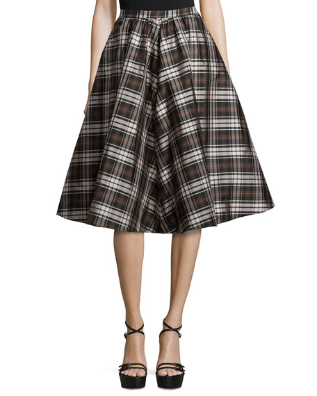 High-Waist Plaid Full Skirt, Black/Nutmeg