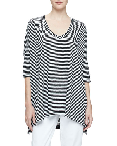 Dolman-Sleeve Striped Linen Tunic, Black/White, Plus Size