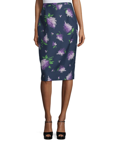 Michael Kors Collection Floral-Print Pencil Skirt, Indigo/Lilac