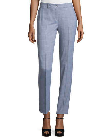 Michael Kors Collection Straight-Leg Ankle Pants, Heather Gray