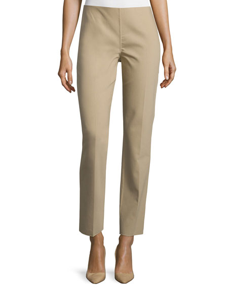 Mid-Rise Side-Zip Ankle Pants, Sand