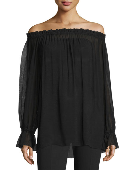 Michael Kors Collection Off-The-Shoulder Long-Sleeve Top, Black