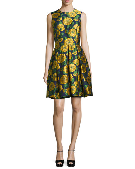 Michael Kors Collection Sleeveless Floral-Print Fit-&-Flare