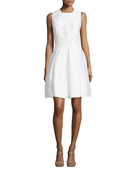 Michael Kors Collection Textured Fit-&-Flare Dress, Optic White