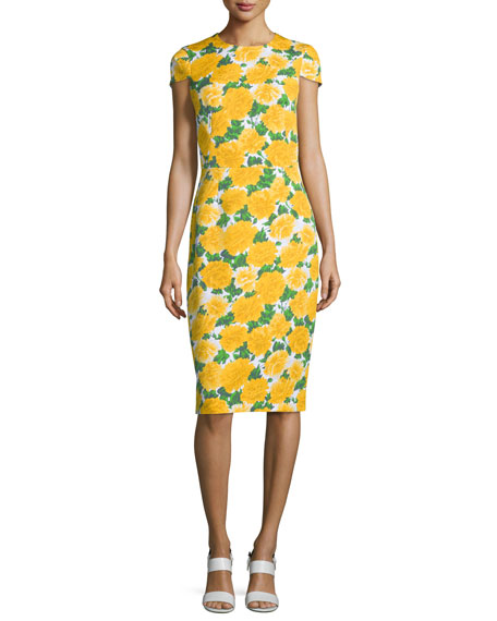 Michael Kors Collection Cap-Sleeve Floral-Print Sheath Dress,