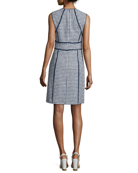 Sleeveless Gingham Sheath Dress, Indigo/White