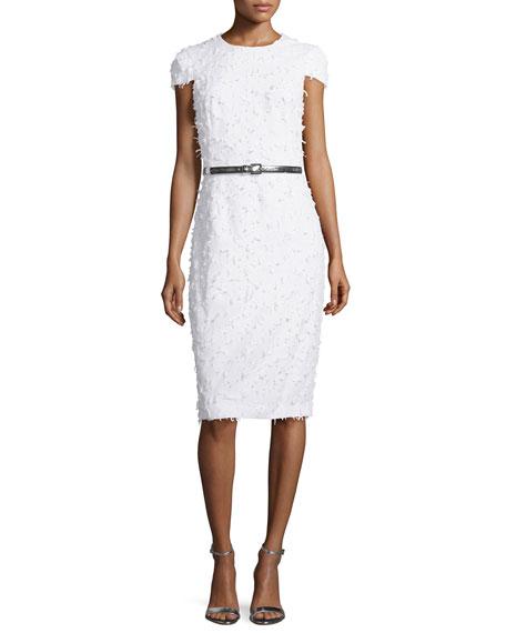 Michael Kors Collection Cap-Sleeve Textured Sheath Dress, Optic