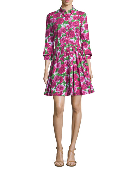 Michael Kors Collection Button-Front Double-Cuff Shirtdress, Optic ...