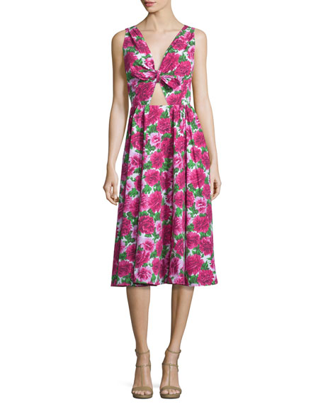 Michael Kors Collection Gathered-Front Midi Dress W/Cutout, Optic