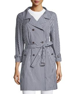 Double-Breasted Gingham Trench Coat, Indigo/White