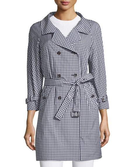 Michael Kors Collection Double-Breasted Gingham Trench Coat, Indigo/White